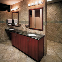 Bathroom with tile floors and walls