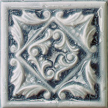 Blue decorative ceramic tile with a crackle glaze