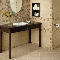 Beige and brown bathroom floor, wall, and wainscoting tile and mosaics
