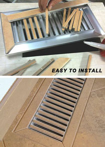 Two pictures of a tileable floor heat vent: one where tile is being cut and inserted into the metal frame, and one where it has been installed in a tile floor