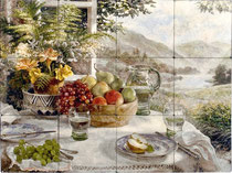Stone Impressions morning table mural with fruit