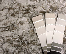 "Cambria New Quay and paint samples: subtle tones can make the difference between ""all wrong"" and ""just right."" We'll pick the perfect shower tiles, floor tiles, or backsplash tiles for you!"