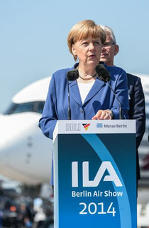 During her opening remarks at ILA Angela Merkel was not distracted by the sight of any Russian cargo aircraft  /  source: ILA