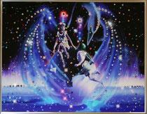 Близнецы. Картина японского художника Ютака Кагайя с кристаллами Swarovsky.