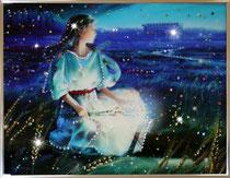 Дева. Картина японского художника Ютака Кагайя с кристаллами Swarovsky.