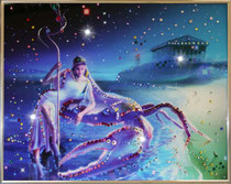 Рак. Картина японского художника Ютака Кагайя с кристаллами Swarovsky