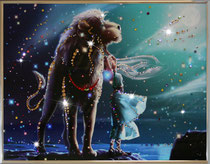 Лев. Картина японского художника Ютака Кагайя с кристаллами Swarovsky.