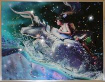 Телец.  Картина японского художника Ютака Кагайя с кристаллами Swarovsky.