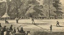 L'illustrazione dove si nota l'arbitro seduto dietro casa base, è tratta dalla rivista Harper's Weekly, pubblicata il 15 Ottobre 1859 (Hoboken Historical Museum)