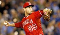 Il pitcher degli Angels Robert Coello