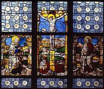 Kreuzigung Christi  Glasmalerei; um 1520/30  St. Maria Lyskirchen, mittleres Fenster des nördlichen Seitenschiffs