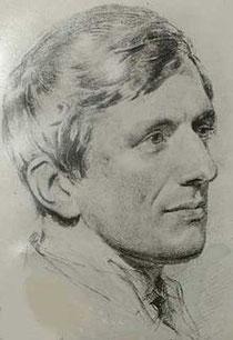 John Henry Newman im Jahre 1824 Zeichnung in der Kirche von Over Worton
