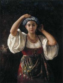 Неизвестный художник, Девушка в венке из васильков, XIX в