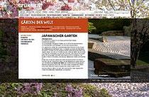 Screenshot der Homepage zum Japanischen Garten
