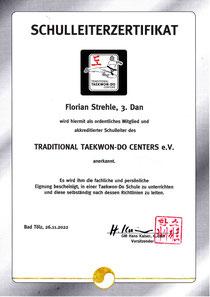 Schulleiter-Zertifikat des Traditional Taekwon-Do Centers e.V