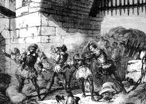 1597 - Prise de la porte Montrescu à Amiens par les troupes espagnoles.