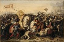 Bataille de Saucourt par J-J Dassy. Huile s/toile. Château de Versailles.