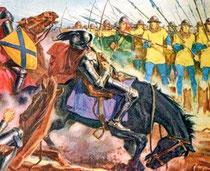 Mort de Jean Ier roi de Bohême sur le champ de bataille de Crécy.