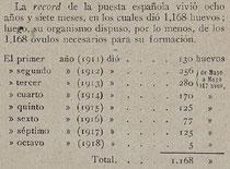 317 huevos de Mayo de 1912 a Mayo de 1913