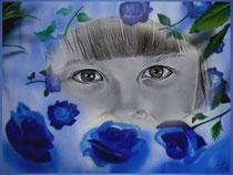 Kraftsymbol blaue Rose