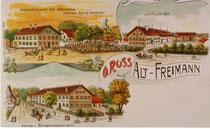 Postkarte mit Freimanner Höfen um 1900