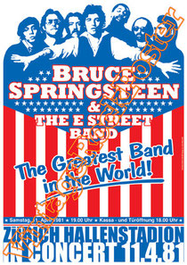 bruce springsteen,springsteen poster, the boss,the e street band,the boss concert,springsteen live show,american music, born in usa,streets of philadelphia,ohio,passaic,columbus,cleveland,zurigo,barce