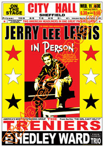 jerry lee lewis,treniers.hedley ward,great balls of fire,swing,rock n roll,50s, pin up, jerry lee lewis poster,concert,concerto, live show,affiche,scandal rock,rock babilonia