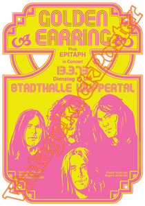 golden earring,Barry Hay, George Kooymans, Rinus Gerritsen,glam rock,rock n roll,classic rock,the netherland,holland,olanda,rock olandese,golden earring poster,wuppertal,1973