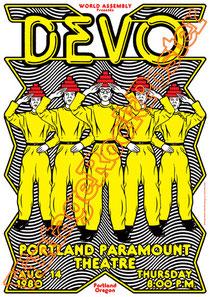 devo,electronic,american college,devo poster,portland,paramount theatre,Mark Mothersbaugh, Bob Casale, Gerald Casale,