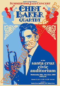 chet baker,trumpet,santa cruz,civic auditorium,blues,jazz,summertime jazz concert,concerto, musica, classic jazz,orchestra,poster,affiche,american poster,idol,symphonyc