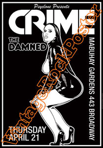 crime,damned,punk,emo,british punk,new punk, new wave,johnny strike,Frankie Fix,Ron The ripper Greco, ron greco,hank rank,ricky james,brittley black, new rose, captain sensible,rat scabies, poster