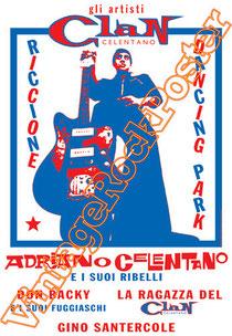 adriano celentano, il clan, riccione, anni 60, mina, 1975, yuppidu, il re degli ignoranti, azzurro, canzone italiana, italian song, spaghetti, mafia, poster, vintage rock poster