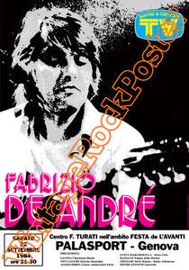 fabrizio de andrè,de andre,canzone di marinella,bocca di rosa, poesia, poetry,italian singer, cantautore,genova, palasport genova, concerto, manifesto, locandina, genoa, calcio