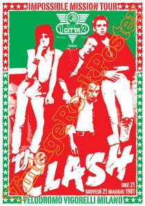 clash,joe strummer,Mick Jones, Paul Simonon, Topper, Nick Headon, punk, emo, rock in the cashba, sandinista, new punk, poster, affiche, vintage rock poster, milano,italy,vigorelli,1981