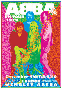 Björn Ulvaeus, Benny Andersson, Agnetha Fältskog,Anni-Frid Lyngstad, abba, London, wembley arena, vintage rock poster, Uk, 1979, dancing queen, abba gold, uk tour 1979,poster,affiche,manifesto