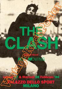 clash,joe strummer,Mick Jones, Paul Simonon, Topper, Nick Headon, punk, emo, rock in the cashba, sandinista, new punk, poster, affiche, vintage rock poster, palazzo dello sport, milano, italy,1984