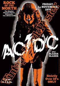 acdc,angus young,bon scott,phil rudd,mark evans,poster, affiche,cartaz,cartel,karte,manifesto,locandina,rock of the north,blazer blazer,the mayfair,rock band