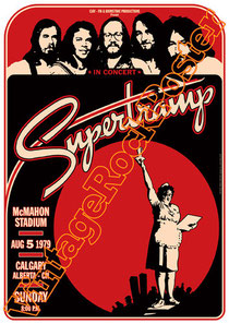 supertramp, Roger Hodgson, Rick Davies, John Helliwell, uk rock,british rock,mc mahon stadium,calgary,supertramp poster,supertramp concert