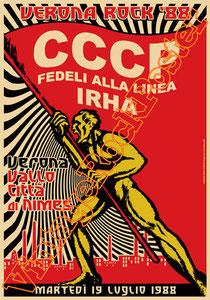 cccp,giovanni lindo ferretti, fedeli alla linea, comunismo, concerto, poster, pci, partito comunista italiano, stalin, lenin,vintage rock posters,irha,verona, festa dell'unità, 1988