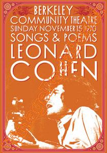 leonard cohen,singer,cantante,folk,poetry,poster,vintage rock poster,berkeley,1970,affiche,manifesto,locandina,cartaz,karte