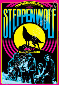 steppenwolf, born to be wild, poster, concerto, manifesto, vintage rock poster, rock, hard rock, biker, motor, motorcycle, steppen wolf