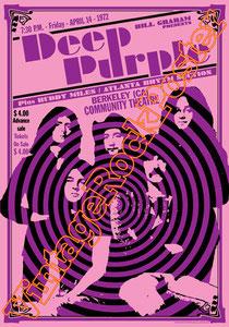 deep purple,Ian Gillan, Rod Evans, David Coverdale, Joe Lynn Turner, classic rock, psychedelic, psichedelia, rock,american , british rock, dark,gothic,concert,poster,berkeley,usa,concerto,poster deep