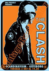 clash,joe strummer,Mick Jones, Paul Simonon, Topper, Nick Headon, punk, emo, rock in the cashba, sandinista, new punk, poster, affiche, vintage rock poster, goteborg,scandinavium,1985