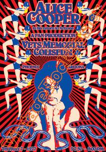 alice cooper,concert,poster,vintage rock poster,cartaz,cartel,affiche,karte,manifesto,locandina,vets memorial coliseum,phoenix,usa,concerto,concerts