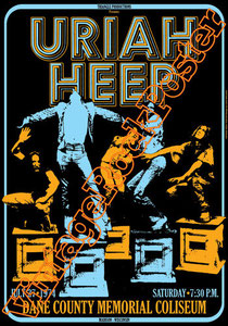 uriah heep,uriah heep poster,uriah heep concert,Bernie Shaw, Phil Lanzon, Russell Gilbrook, Ken Hensley,live show,manifesto uriah,dane county memorial coliseum madison