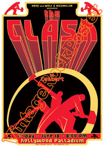 clash,joe strummer,Mick Jones, Paul Simonon, Topper, Nick Headon, punk, emo, rock in the cashba, sandinista, new punk, poster, affiche, vintage rock poster, hollywood palladium,hollywood,usa