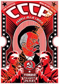 cccp,giovanni lindo ferretti, fedeli alla linea, comunismo, concerto, poster, pci, partito comunista italiano, stalin, lenin,vintage rock posters, torino,1987