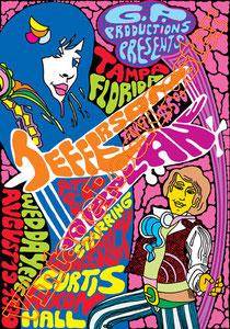 jefferson airplane,jefferson airplane poster,concert,psychedelic,Grace Slick, Jorma Kaukonen, Paul Kantner, Marty Balin,curtis nixon hall,tampa,florida,poster,manifesto,locandina,hippy,biker