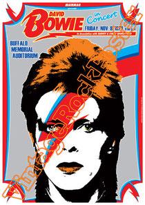david bowie, ziggy stardust,bowie,glam rock, velvet goldmine, vintage rock posters, poster, buffalo,1974, buffalo memorial auditorium