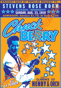chuck berry, swing, 50s,pin up, poster, jackson, usa, concert, concerto, manifesto, affiche, black music,stevens rose room,clarence,henry & Orchestra